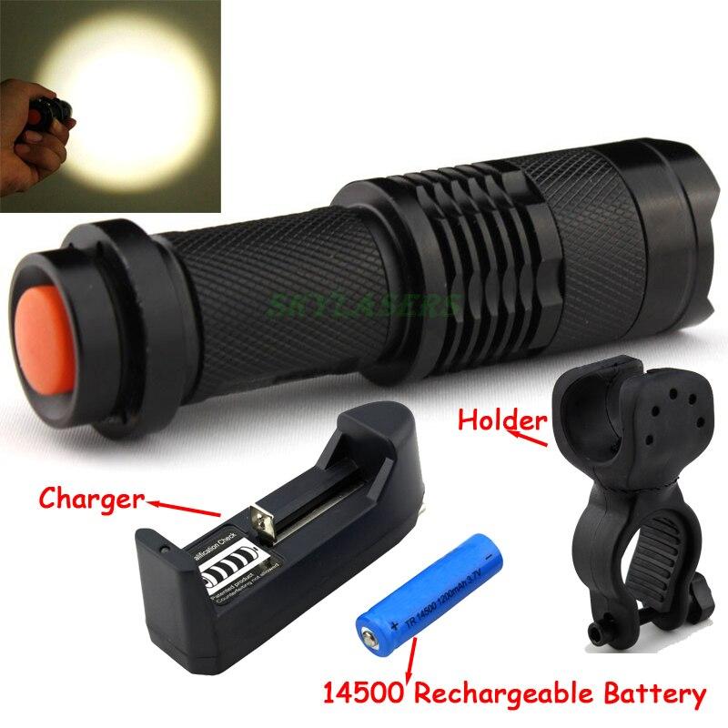 2000LM LED Q5 zoom led lampe de Poche lumière Minitorch LED Vélo Lumière Avant Avec Le Mont Titulaire + 3.7 V 14500 Batterie + chargeur