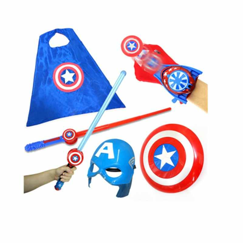 Play Suit Cospiay Captain America Props PVC Captain America's Mask Cape Shield Fire Glove And Sword  Action Figure Toy