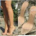 2017 Sexy Kim Kardashian Calcanhar Sandália Das Mulheres DO PVC Claro e Transparente Cor Mulheres de volta Cinta Sandálias de Salto Alto Plus Size Personalizado sapatos