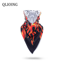 QLIOING Cycling Face Mask Triangular Scarf Ski Snowboard Neck Warmer Motorcycle Outdoor Winter Hood Fleece Skull Balaclava Ghost