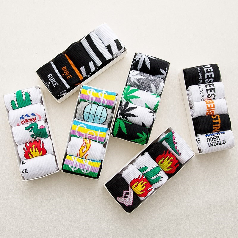 5 Pairs Lot Gift Box Men's Hemp Weed Happy Socks 2019 New Arrival 100% Cotton Male Female Unisex Funny Socks Thermal Crew Socks
