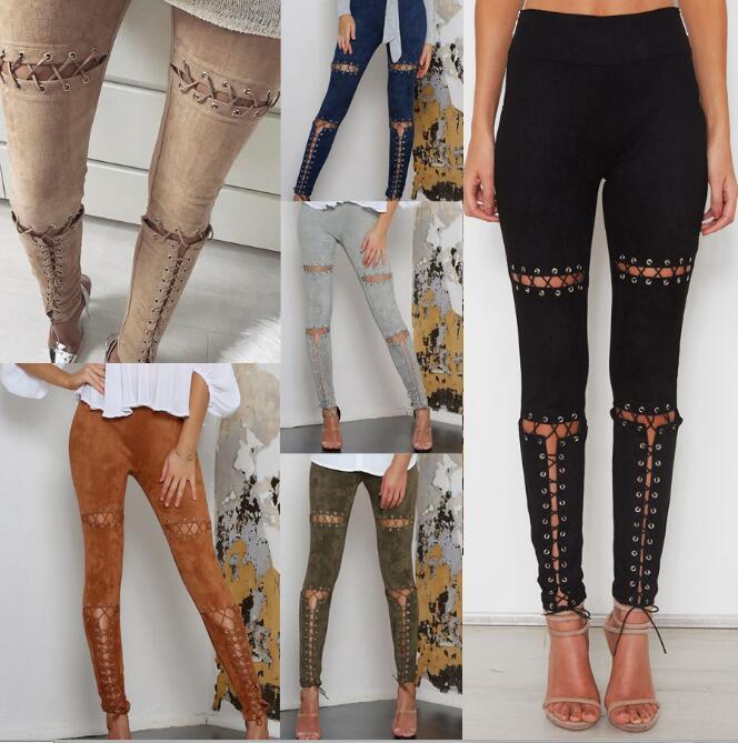 Women High Waist Solid Bodycon Pencil Trousers Faux Suede Leggings Lace Up Bandage Casual Pants 6 Colors