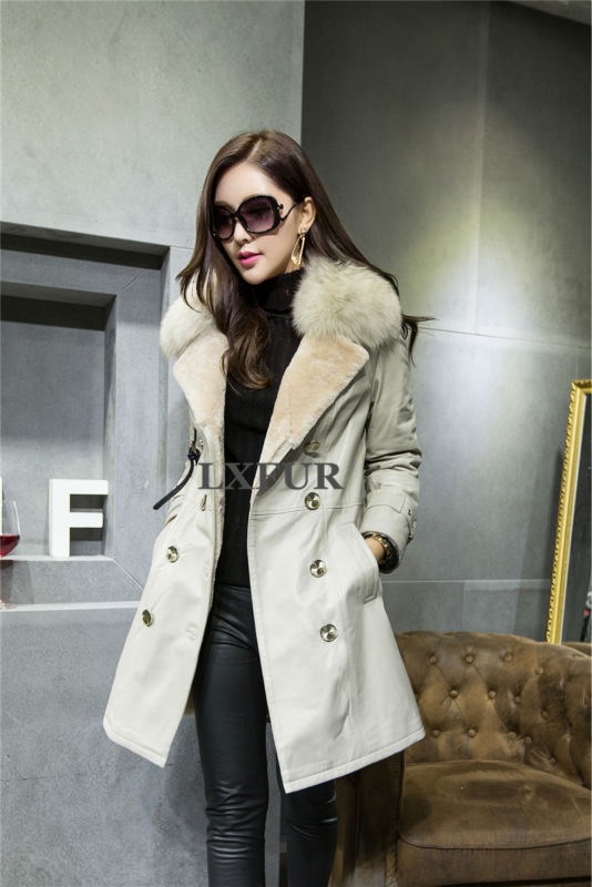 2017 Winter New Womens Import Merino Sheep Fur Outerwear Real Sheep Leather Long Overcoats with Fox
