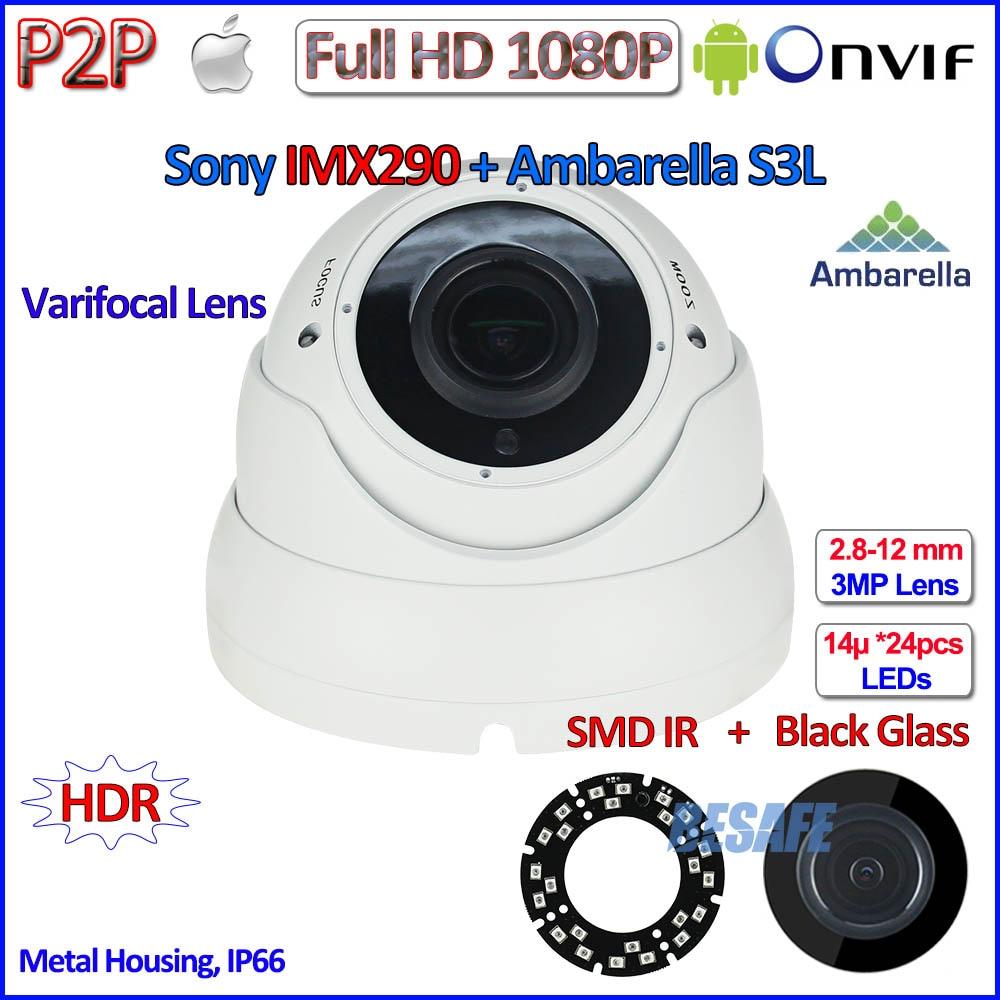 ФОТО H.265 1080P IP CCTV 2.0MP ONVIF 2.4 IMX290 Camera IP P2P Night Vision IP camera PoE with IR-CUT, H.264, 2.8-12mm HD Lens, HDR