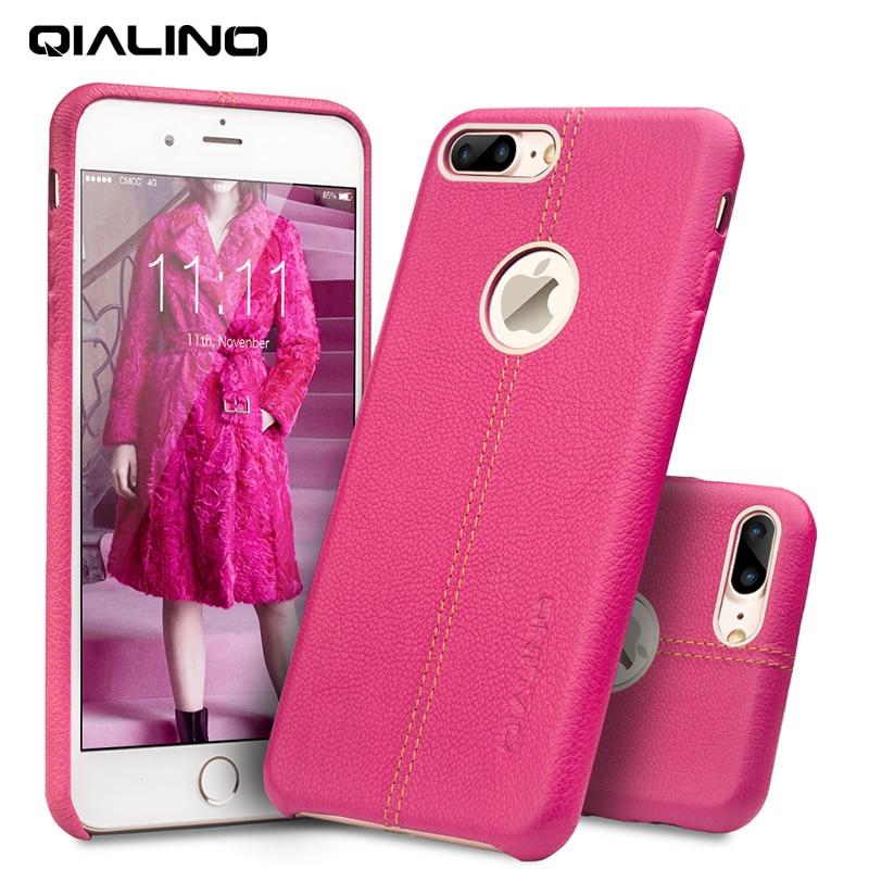 QIALINO Modeväska för iPhone 7 Äkta läderbaksskydd till Apple - Reservdelar och tillbehör för mobiltelefoner