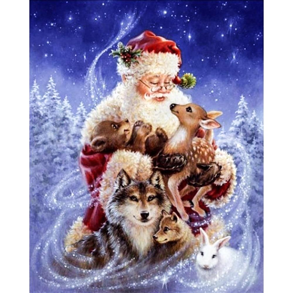 Full Diamond Embroidery Santa Claus and animals Diamond Painting Cross Stitch Diamond Mosaic Needle Craft Christmas Decor Gifts zwbra shower curtain