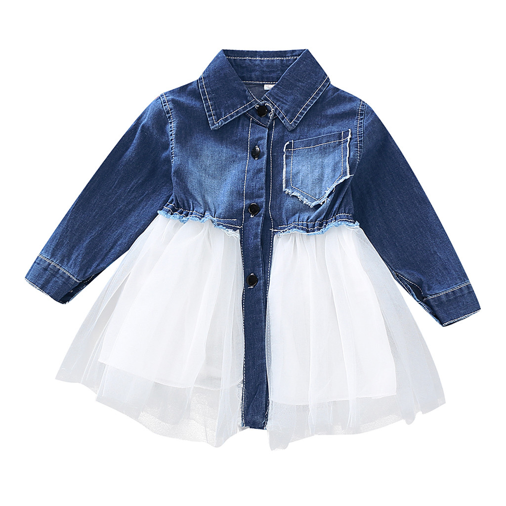 Toddler Infant <font><b>Baby</b></font> <font><b>Girls</b></font> Outfits Denim Tutu Tulle <font><b>dress</b></font> <font><b>girl</b></font> <font><b>dress</b></font> for <font><b>girls</b></font> 2 and <font><b>3</b></font> <font><b>years</b></font> princess costume image