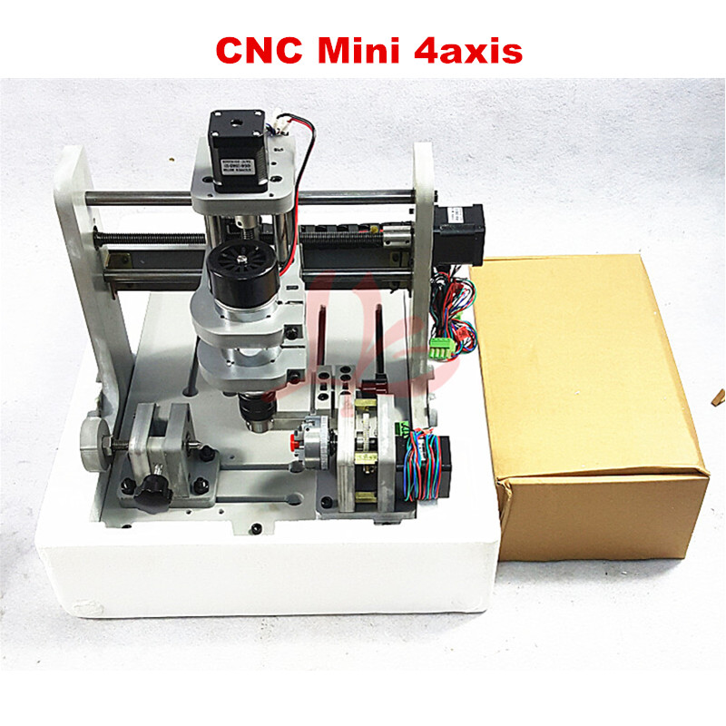 DIY Mini 4 axis CNC Engraving Drilling and Milling Machine,Win-XP operating system cnc 5axis a aixs rotary axis t chuck type for cnc router cnc milling machine best quality