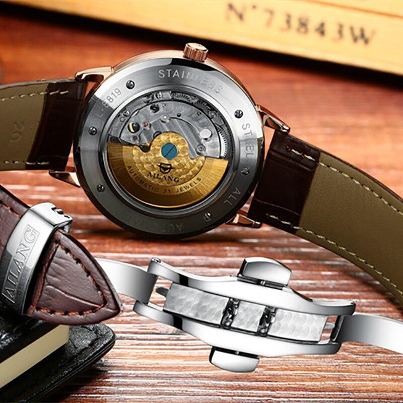 Di marca Semplice 2 Mani Analogico Orologi per Gli Uomini di Moda Vestito di Affari orologio Da Polso Meccanico a carica automatica Orologio Calendario Relógios - 6