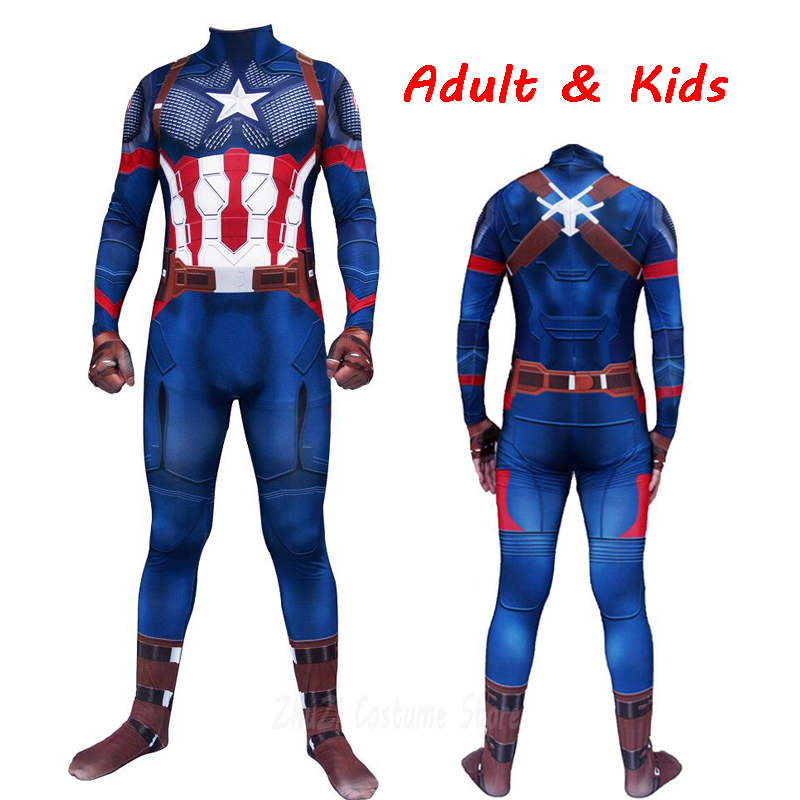 Men Cosplay Steve Rogers Costume Digital Printing Zentai Jumpsuits Adults Kids Suit Bodysuit Halloween Costumes