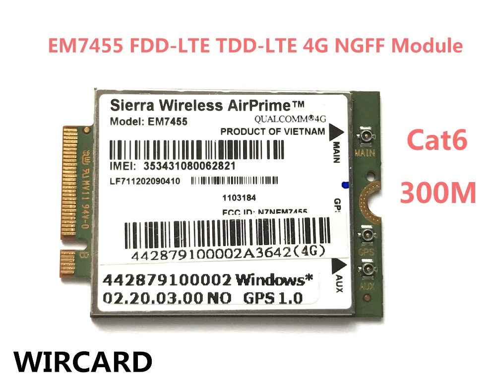 EM7455  FDD TDD LTE Cat6 4G MODULE 4G CARD For Laptop
