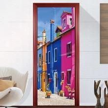 3D Scene Building House Street Cliff Door Sticker Home Bedroom Living Room Decor Wall Stickers Poster Waterproof Decal 2pcs