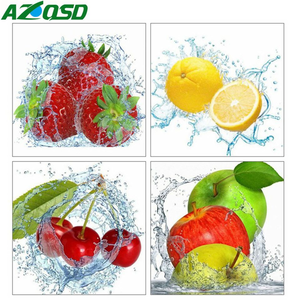 AZQSD Diamond Embroidery Kitchen 5d Painting Full Drill Square Home Decoration Mosaic Fruit Cross Stitch Kit