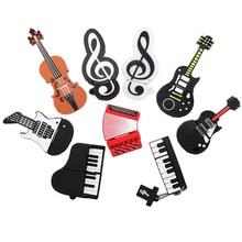 Movimentação da pena do piano dos instrumentos dos desenhos animados de usb 4gb 8gb 16gb 32gb 64gb notas musicais vara da memória guitarra criativa pendrive
