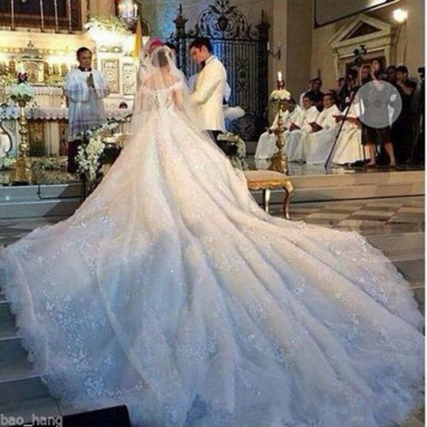 Luxury Royal Train Wedding Dress White Ball Gown Organza V