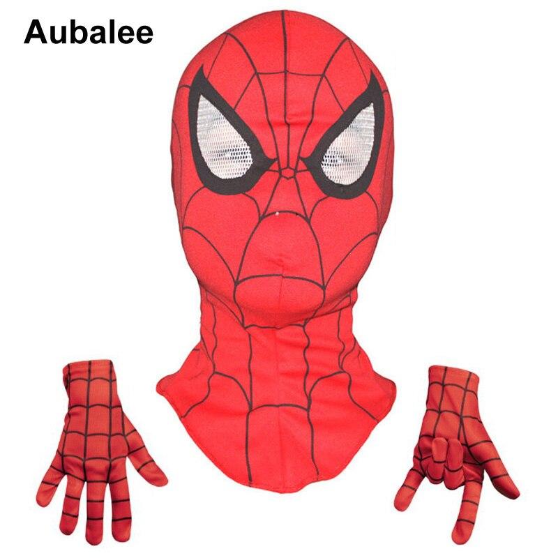 Aubalee Cool <font><b>Spiderman</b></font> Cosplay <font><b>Mask</b></font> Kids Halloween Costume <font><b>Boys</b></font> Superhero Full Head Party <font><b>Face</b></font> <font><b>Masks</b></font> With <font><b>Spiderman</b></font> Gloves