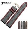 18 mm 20 mm 22 mm 24 mm reloj para hombre de banda fibra de carbono correa de reloj con cosido rojo forro de cuero del acero inoxidable del corchete hebilla