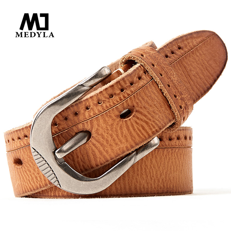 MEDYLA Cinto Masculino Brand Designer Top Grain Leather Belt Luxury Casual Cow Genuine Leather Belts For Men Business Strap