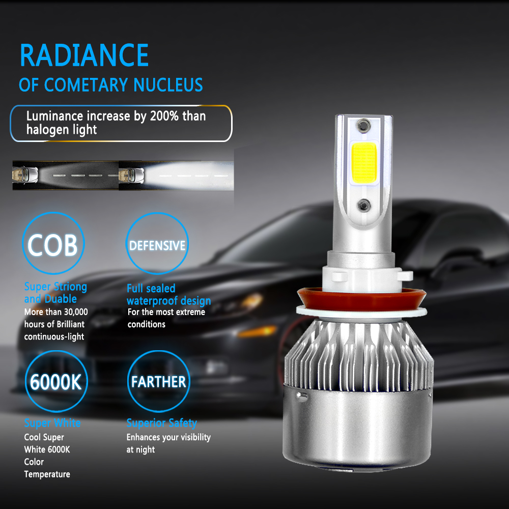 Image 2 - AROUSE 2pcs C6 H11 LED Car Headlights 72W 8000LM COB Auto Headlamp Bulbs H1 H3 H4 H7 H13 880 9004 9005 9006 9007 Car Fog Lights-in Car Headlight Bulbs(LED) from Automobiles & Motorcycles