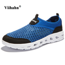 Viihahn 2017 Men Casual Shoes Summer Breathable Mesh Zapatillas For man Super Light Flats Shoes, Foot Wrapping Walking Shoes