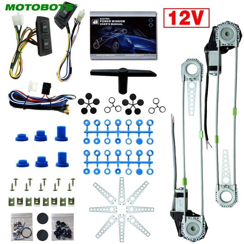 MOTOBOTS Universal 2 Doors Car Auto Electric Power Window Kits with 3pcs Set Switches and Harness