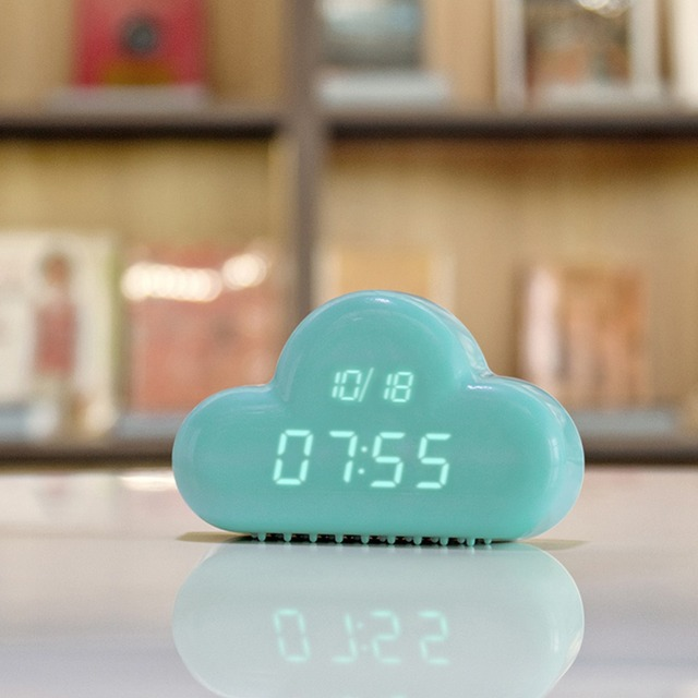 Cute Cyan Cloud Shape Reloj Despertador Sound Control Digital Alarm Clock  Xmas Toys Gift Home Decor