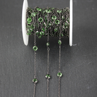 6mm,Gun Black Wire Wrapped Fashion Links Necklace Bracelet,Clear Green Glass Faceted Round Coin Shape Transparent Beads Chains