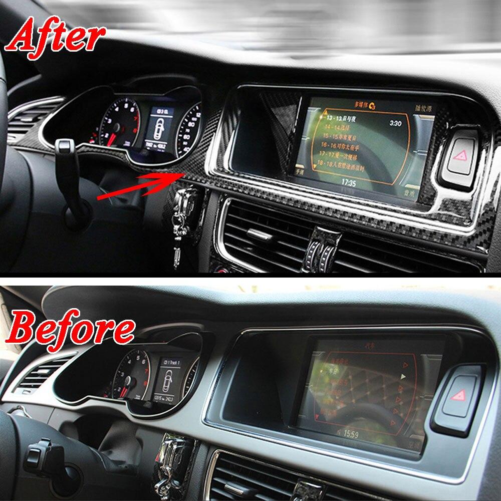 4ps Carbon fiber Interior Navigation Panel Warning Lamp Frame Decoration Cover Trim For Audi A4 B8 2009 2016 Car Styling