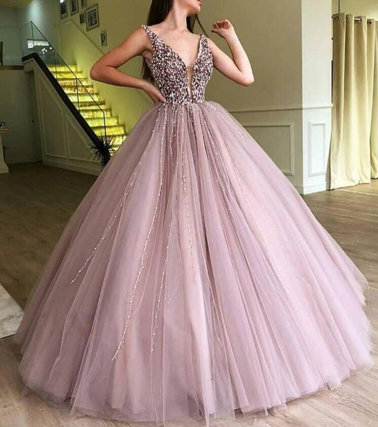 Abendkleider 2019 Evening Dresses Sparkle Beaded Tutu Ball Ball Gowns Crystal Pearls Vintage Long Evening Gowns V-neck Prom Gown