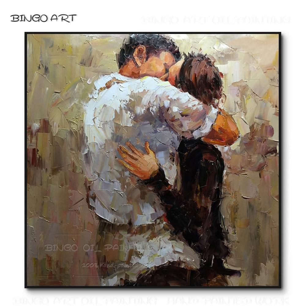 Отличный художник ручная роспись высокое качество пара обнимает и целует масляную картину на холсте любовник портрет нож картина маслом