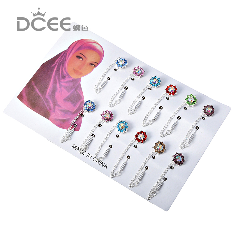 Hijab Pins Brooches Wholesale 12PCS Flower Crystal Muslim For Women Safety Scarf Pins Hijab Pins Silver Pins Mixed Color