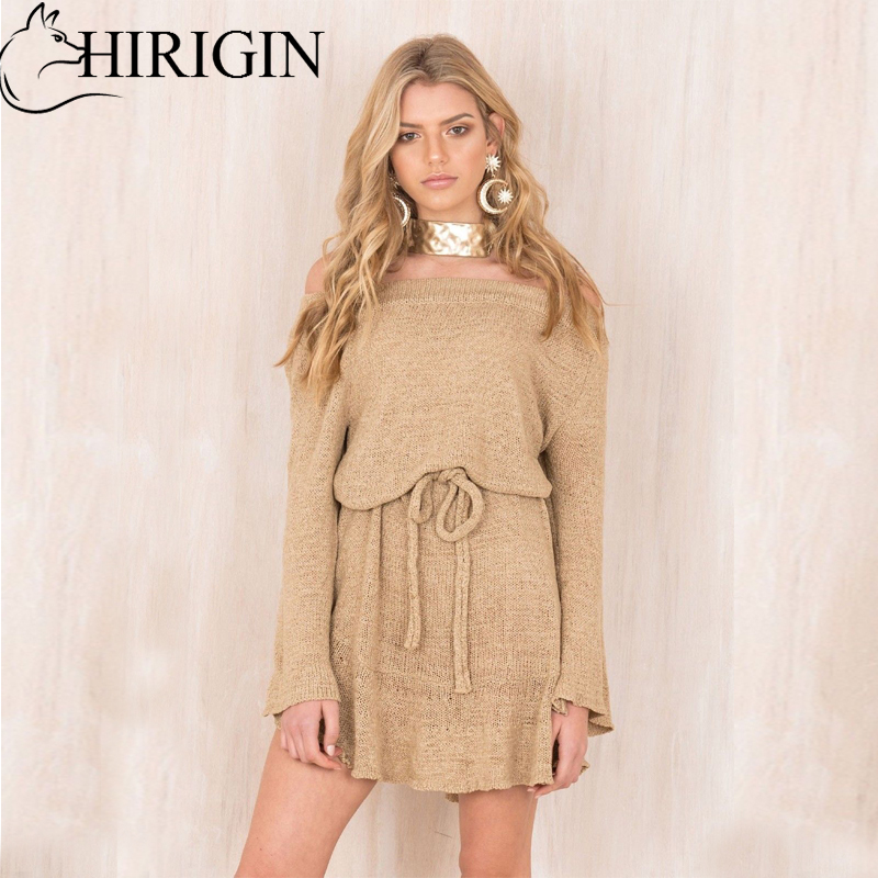 HIRIGIN Womens Solid Long Sleeve Slash Neck Sweater Blouse Ladies  Lace Up Jumper Pullover Tops