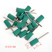20pcs  1/8″(3mm) Shank  8mm Cylinder Green Rubber Rubber Polishing Mounted Points For Dremel Derusting Grinding Buffing