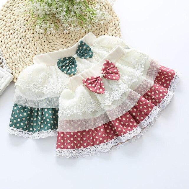 Корейский юбка младенца девушки прилив Горошек лук декоративные кружева шить марлевые девушки юбки феста infantil