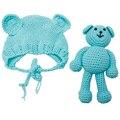 Chapéu de Urso Do Bebê recém-nascido Fotografia Props Crochet Gorro Fotografia Acessórios