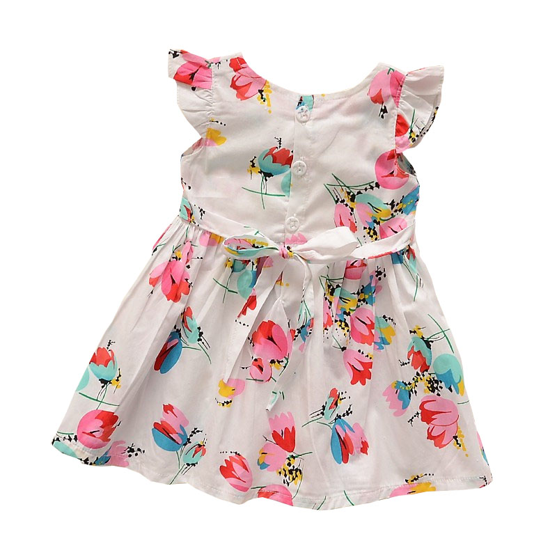 BibiCola Baby Girls Summer Dress Toddler Kids Flower Printed Cotton Dresses Children Dress Baby Casual Kids Girl Dress Clothing