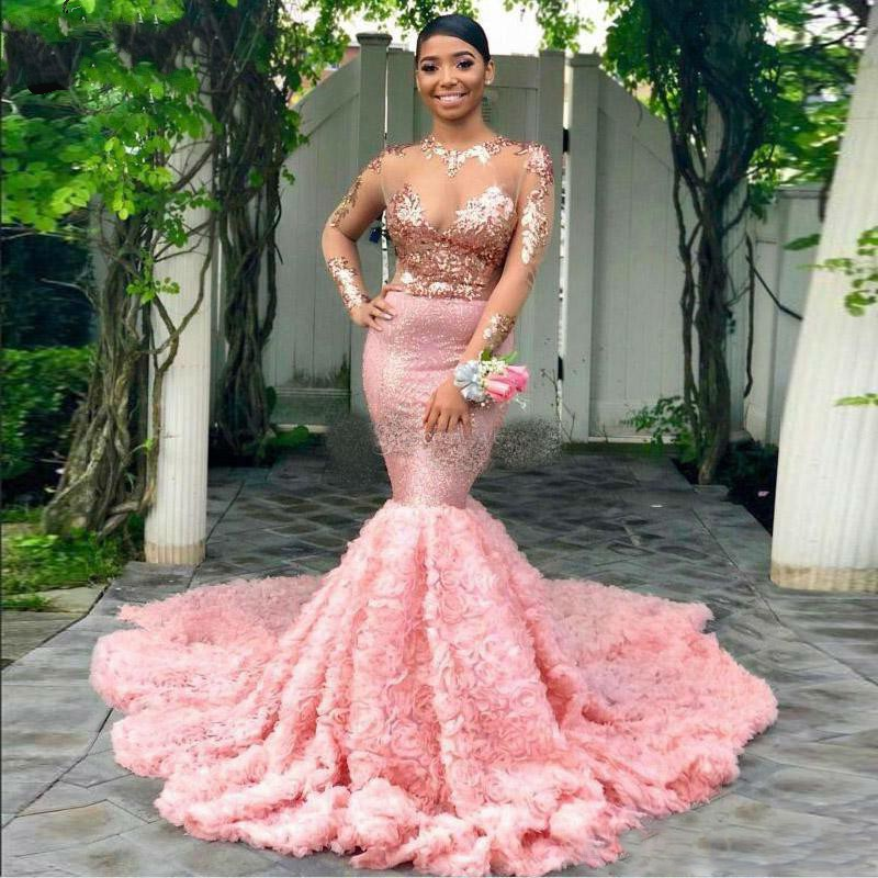 New African Black Girls Long Sleeve Pink Mermaid Prom Dresses Long 2019 O Neck Sheer Lace Top Women Formal Evening Party Gowns