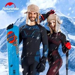 Naturehike homens e mulheres inverno engrenagem de esqui roupa interior térmica define manga longa topo esportes snowboard camisas e calças roupas