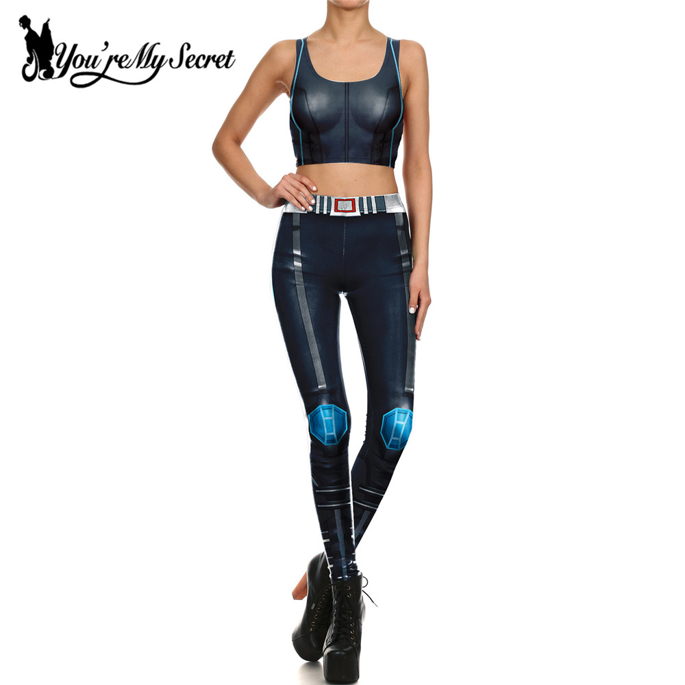 [You're My Secret] One Set Women Leggings 3d Digital Print Blue Diamond Star Wars Armor Comic Cosplay Leggin Women Clothings
