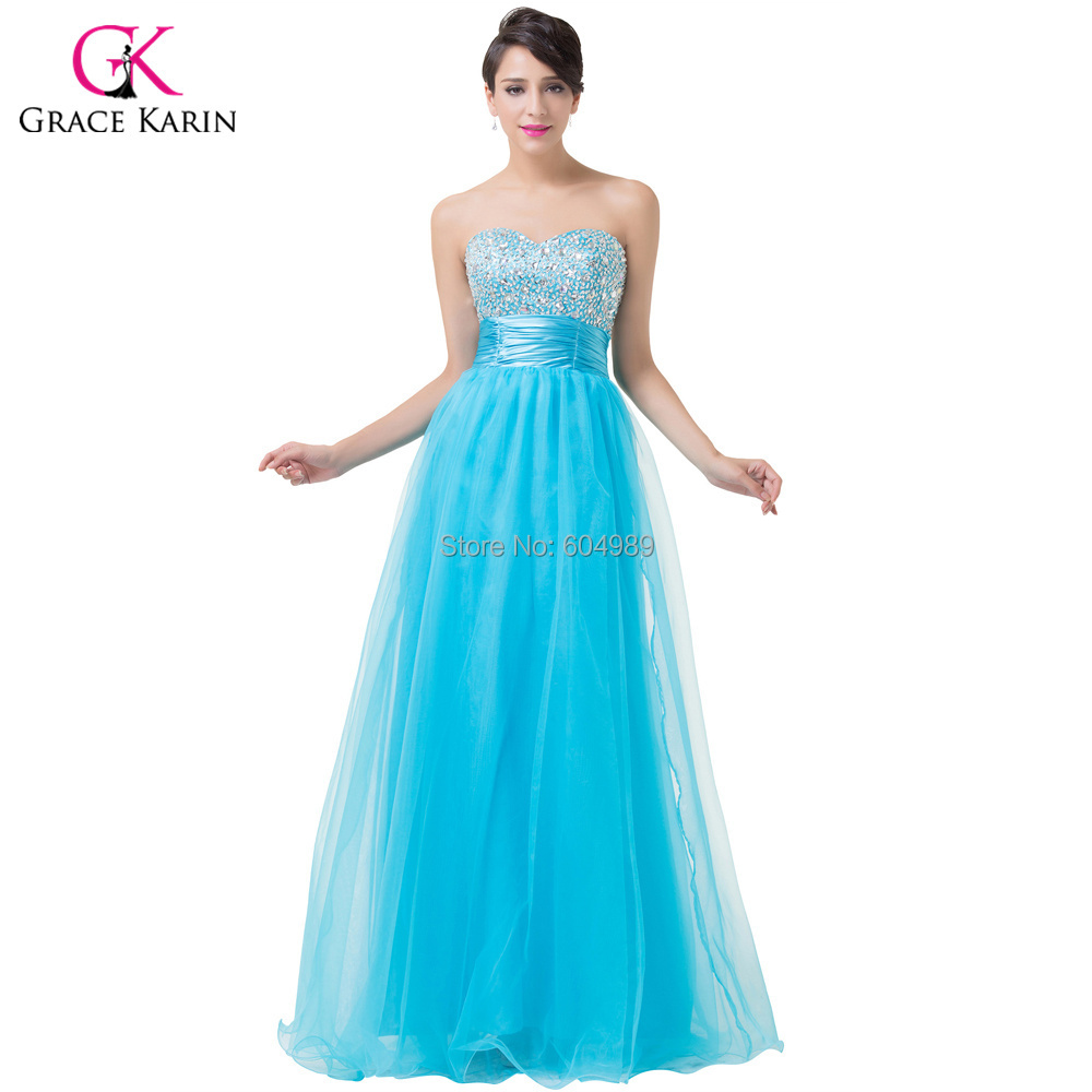Evening Dresses 2017 Grace Karin Pink Turquoise beadings sequin Long ...