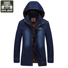 AFS JEEP Brand Winter Jacket Men Jeans Jacket Hooded Collar Windbreaker Jaqueta Masculina Hat Detachable Army Military Jackets