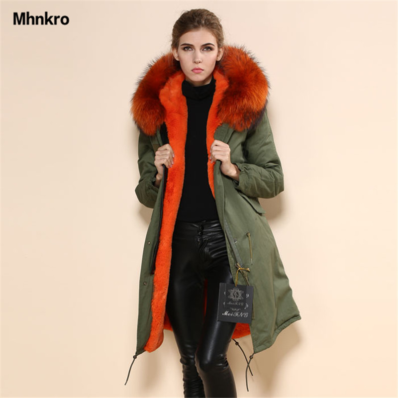 2017 Free Shipping Fashion High Quality Women Fur Coat Jacket,Parka Real Fur Collar Orange Fur Coat Parka Winter Jacket With Fur