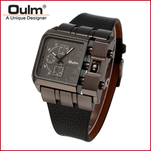 Oulm 3364 Military Quartz Watch Leather Strap Rectangle Dial Famous Brand Luxury Clock Men Wristwatch