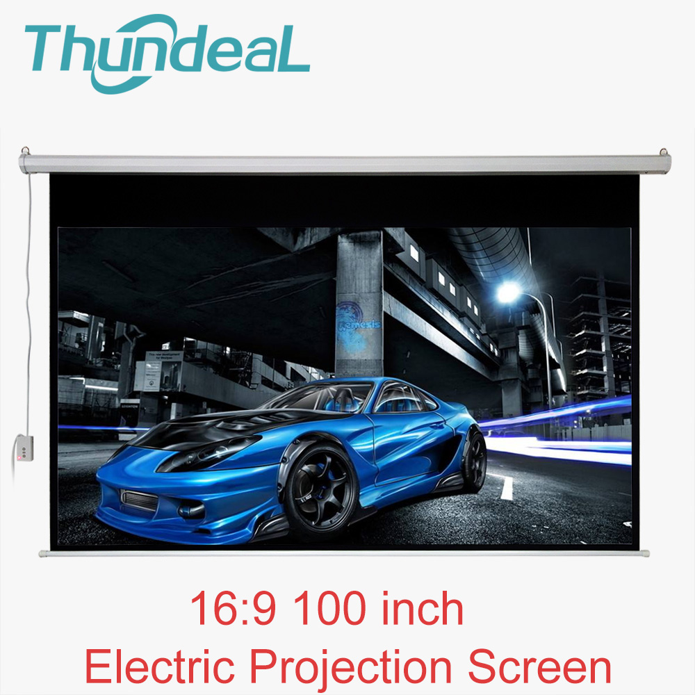 ThundeaL 100 inch 16:9 Electric Projector Screen Motorized Projection Screen for LED DLP Projector Electric With Remote Control thinyou 84 inch 16 9 electric screen with remote control up down matte white fabric fiber glass curtain hd projector screen
