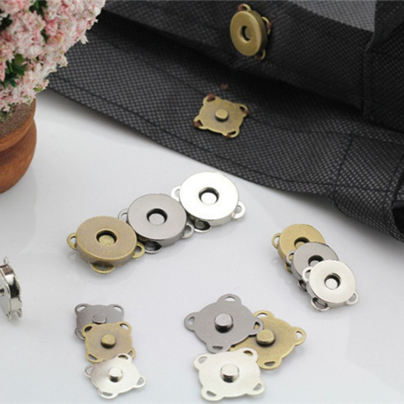 10 Sets//lot Bag Purse Clasps Sewing Buttons Magnetic Metal Snaps Fasteners ME