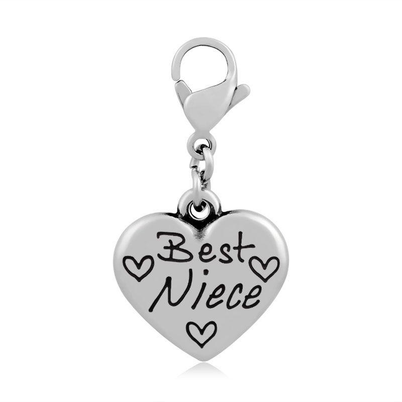 Lemegeton Message Charm with Lobster Clasp Best Niece/Niece/Just Married/Special Wife/Aunt Heart family Jewelry for Necklaces