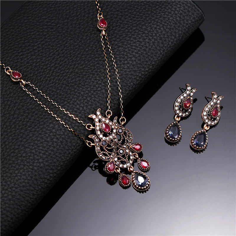 Indian Wedding Jewelry Sets For Women Antique Gold Color Multi Color Crystal Water Drop Pendant Necklace And Earrings Set