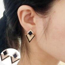 E0120 Fashion Triangle Design Crystal Stud Earrings Women Black Blue Pink White Double Sided Earrings Wholesale Wedding Jewelry