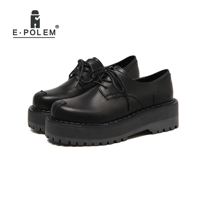 Здесь продается  British Style College Retro Thick Soles Martin Shoes Female Harajuku Leather Round Toe Lace Up Platform Shoes Flat Shoes  Обувь