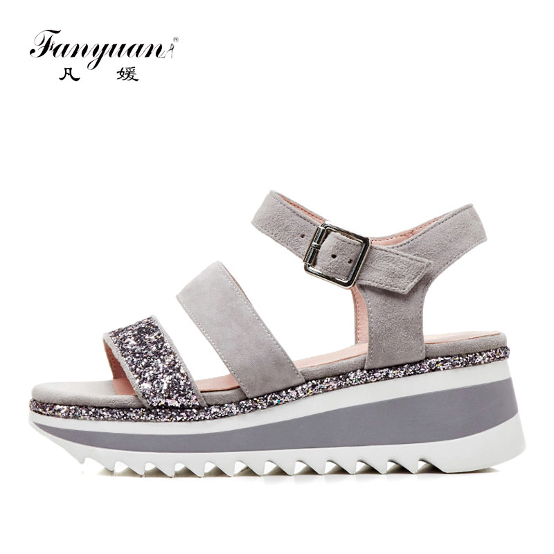 Fanyuan Leather Sandals Women Wedge Heels Shoes Glitter Gladiator Platform Sandals Women Casual Heeled Summer Shoes Woman Black mabaiwan women shoes genuine leather summer sandals casual platform wedge shoes woman rivets gladiator wedges breathable sandal